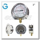 3 inch back connection liquid filled SS case brass internal  gauge with back flange