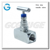 One way needle valve for pressure gauges